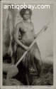1915 Nude Fijian Woman holding Boat Paddle - Pacific Island