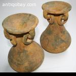 2 Ceramic Mexican Pots with ears and rings