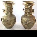 2 Chinese Brass Vases