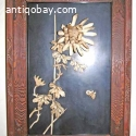 2 CHINESE CARVED BONE INLAID PANELS IN CARVED WOOD FRAME.