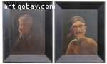 2 oilpaintings of old couple Indonesia