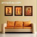 3 prints van Javaanse dans tafrelen op canvas in lijst.