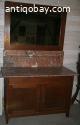 Antiek toilet commode met spiegel en bruin marmer blad