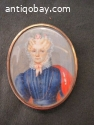 Antique French Miniature Painting Hand Painted Portrait,