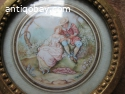 Antique French Miniature Painting Hand Painted romantic