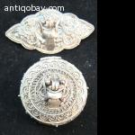 Bali silver pillbox and brooch