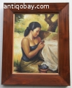 Oil painting Indie Java Indonesia Basuki