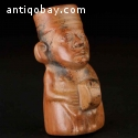 Pre-Columbian A figural vessel of a seated drummer C-021