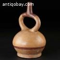 Pre-columbian Moche Stirrup spout vessel