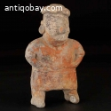 Pre-columbian Nayarit solid pottery standing female figure