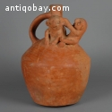 Pre-columbian Salinar Orangeware Jug with Two Figures
