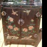 Vintage Oriental Cabinet Hand Carved Black Lacquer