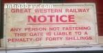 Vintage train/underground sign. 6