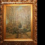 Woman in Forrest  0il Painting Dutch